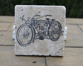 Vintage Motorcycle Natural Stone Coasters. Set of 4. Fathers day, Host, Gift for Him
