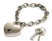 Heart Lock Bracelet 50 Shades of Grey Style. Link bracelet 304 stainless steel chain with keys.
