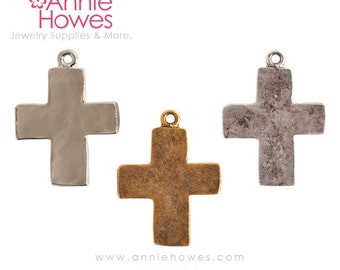 Boho Hammered Cross Charm or Pendant in Silver, Antique Silver or Antique Gold