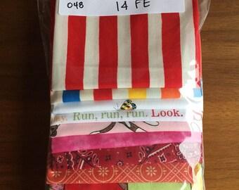 Fabric Destash no. 048 -- 14 Fat-Eighths -- Kid Fabrics