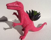 Pink Dinosaur Planter for Succulent Plants Fun Office Decor