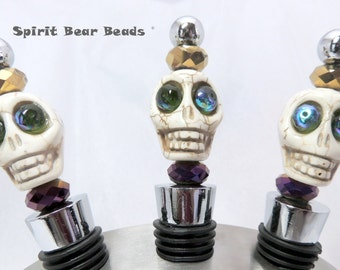 Skull Wine stopper Mardi Gras Dia De Muertos Day of the Dead  Gift Cinco De Mayo