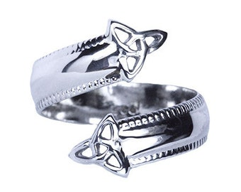 Celtic Triquetra Sterling Silver Adjustable Spoon Ring