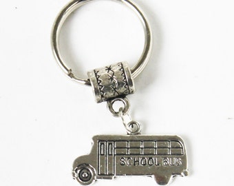 Silver SCHOOL BUS Key Chain Key Ring key Holder Key Fob KC-gen42