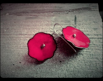 BRIGHT Red Enameled Copper Poppy flower Earrings with Sterling Silver Wires