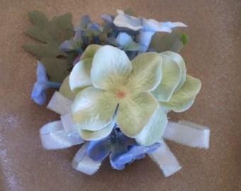 flower pin brooch corsage boho women's fashion floral accessory pale blue boutonnière faerie flowers renaissance costume accessories