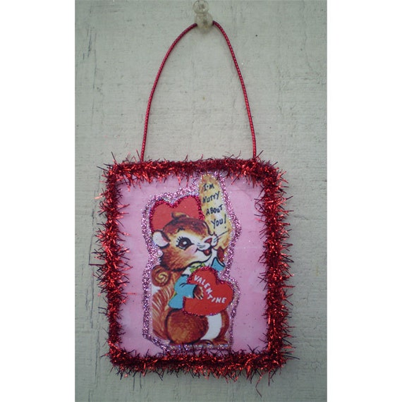 Valentines Day decoration vintage style home decor retro squirrel ornament romantic gift
