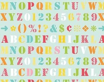 Simply Sweet Alphabet on Blue by Riley Blake - 1 yard
