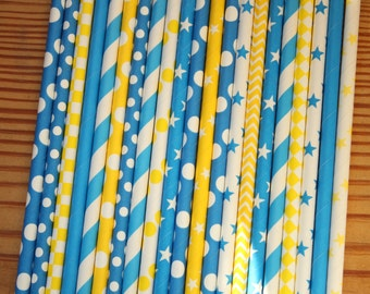 30 Belle Party Straws -- Beauty and the Beast Paper Straws, Blue Yellow