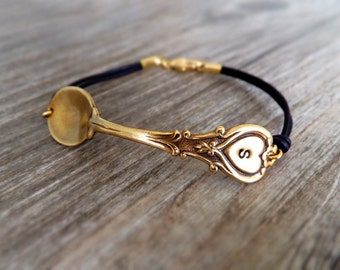 Heirloom Spoon Jewelry Bracelet - Antique Brass Spoon - Personalized Spoon Charm - Family Jewelry - Vintage Fashion - Women - Gift for Her