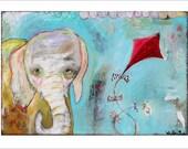 Elephant with Kite- Motherhood- Mixed Media Art Print