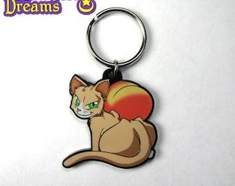 Cat Peach Keychain Necklace Tabby