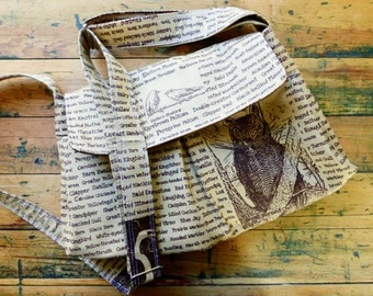 Bird Messenger Bag, Brown Cotton Hand printed, Adjustable Strap, Key Fob