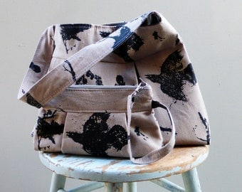 Grey Black Bird Bag Print Bag and Wristlet Set - 3 slip pockets - Key Fob