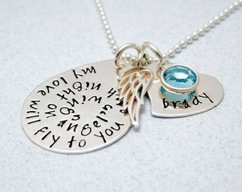 Personalized Remembrance Necklace - Quote Necklace - Memorial Keepsake - Sympathy Gift - In Memory of Loved One - My Love Will Fly To You