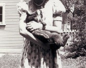 vintage photo 1940 Young Lady Holds Ball of Gray Fur Cat in her Arms