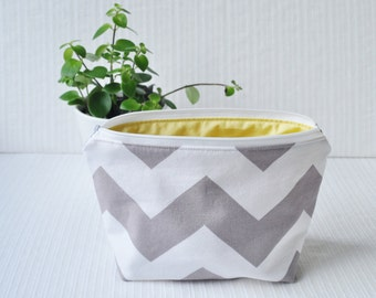 6 x 9 Zippered Pouch - Large Gray Chevron and Yellow
