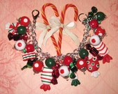 Christmas Charm Bracelet Christmas Candy Bracelet Peppermint Ribbon Candy Wrapped Hard Candies Sweet Sugary Treats Statement Piece OOAK