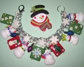 Christmas Charm Bracelet Snowman Bracelet Winter Jewelry Snow Snowflake Christmas Jewelry OOAK Holiday Chunky Fun Cute Adult Teen Tween