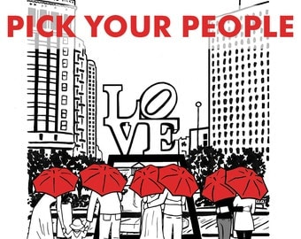 Philly Love 8x10 print- Pick your couple and umbrella color!