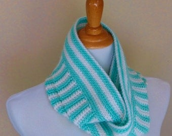 Stripes Infinity Scarf Crochet PATTERN - INSTANT DOWNLOAD