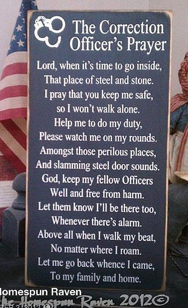 Corrections Officer Prayer Law Enforcement Wood Sign Cop