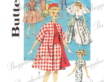 Butterick 9993 - for 11 1/2 inch dolls such as barbie - sewing pattern