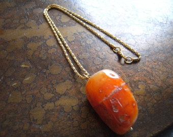 Mining Amber Carnelian Nugget Gold Plated Chain necklace