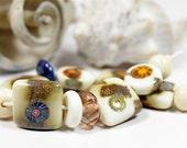 RESERVED - rustic ivory handmade lampwork bead set (13)