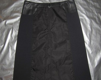 PRADA Skirt - Black with leather trims - Italian size 42 (US Small) - Vintage 90's