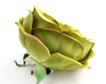 Full Cabbage Rose in Olive Green - Silk Artificial Flower - DIY bouquet supply - ITEM 0945