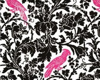BIRD DAMASK YARDAGE Candy Pink and Black on White Leafy Damask Fabric with Fuchsia Birds- Premier Prints- 1 yard-