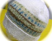 Lady's Hat, Hand Knit, Winter White with Multicolor Band