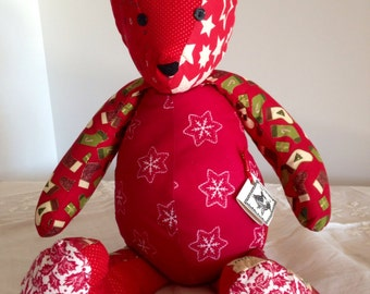 Quilted Teddy Bear - Christmas Delight