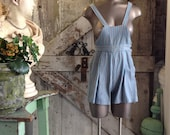 1940s overalls 40s shorts size small Vintage cotton romper onesie chambray jumpsuit