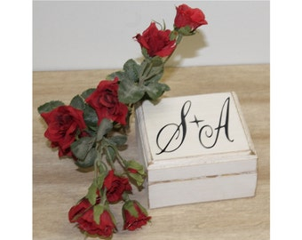 Rustic Wedding Ring Bearer Box Country Personalized with Bride and Groom Initials Ring pillow Shabby weddings