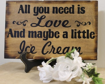 Rustic Wedding Sign All You Need is LOVE Candy Bar Cake Ice Cream Sweets Table Treat Reception