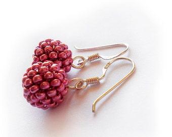 Metallic Pink Beads Earrings - Berry Beaded Dangle Earrings with Sterling Silver Hoops