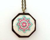 Wooden Pendant - Hand Embroidered - Mandala