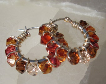 Small Autumn Gem Hoops
