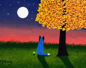 Australian Cattle Dog folk art print by Todd Young AUTUMN TWILIGHT