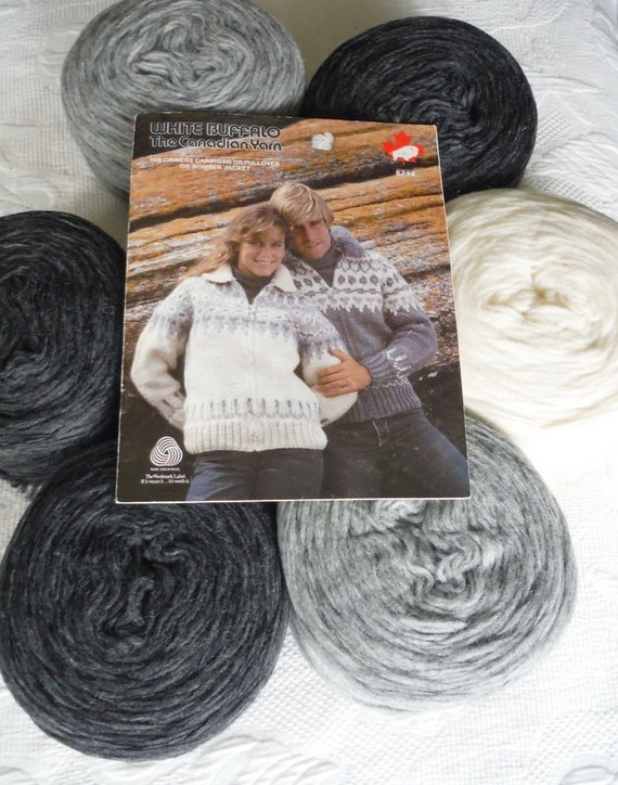Knitting Pattern Wool Kits : Cowichan Sweater Knitting Kit natural wool yarn Adult pattern