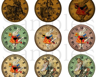 """1"""" Inch Alice in Wonderland Clock Flatback Buttons, Pins or Magnets 12 Ct. Set B"""