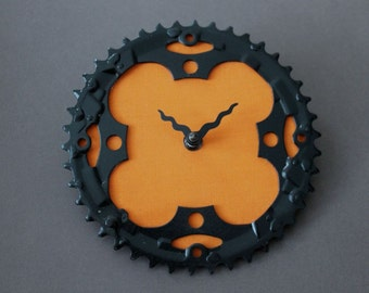 Bicycle Gear Clock - Mountain Orange | Bike Clock | Wall Clock | Recycled Bike Parts Clock