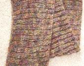 "Jewel Multi Hued Mohair Blend Handmade Knit Infinity Scarf  8"" x 87"""