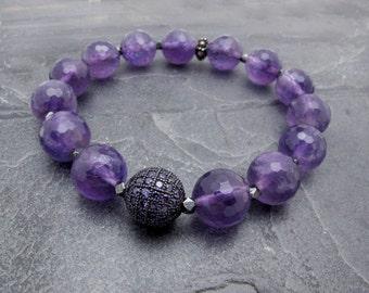 February birthstone amethyst, amethyst bracelet, amethyst gift, pave bracelet, purple gemstone bracelet, gift for wife, gift for her