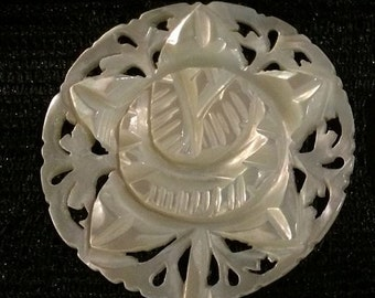 Bethlehem Carved Mother of Pearl Vintage Button XLG Round Rose Other Styles Too