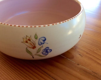 1930s Poole Pottery Dish, Shallow Vase, Planter Pot. Pretty Soft Pink Floral Bowl, Signed Traditional Ware, Hand Painted Folk Art Flowers.
