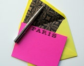 FABULOUS PARIS STATIONERY - 5 bright pink flat Paris cards yellow black and gold lined envelopes - bright punk glamorous stamped cards