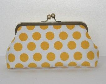 Yellow White Polka Dot Clutch Purse/ Yellow Bridesmaid Clutch